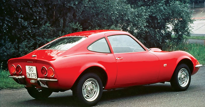 1968 Opel GT red rear angle